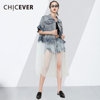 CHICEVER Two Piece Denim Coat Female Lapel Half Butterfly Sleeveless Mesh Patchwork Jackets For Women 2018 Summer Fashion New