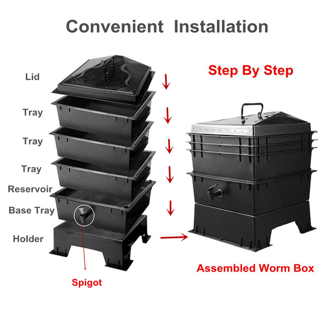 80L PP Kitchen Waste Earthworm Compost Box DIY Composter Worm Factory Composter Homemade Earthworm Manure And Soil Buckets