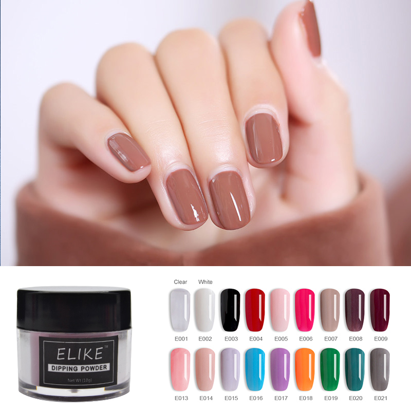 ELIKE nail dip powder set 10g warm color French stronger and more durable easy soak off nail glitter powder nail art design