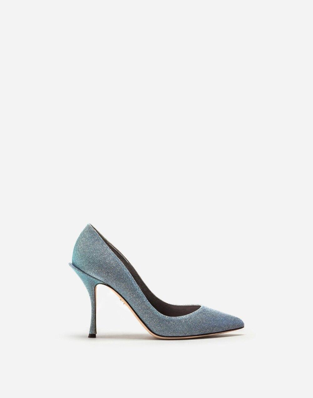 Femmes Pointu À Bleu Gris Taille Élégant Haut Bout Hauts Femme Talon Lumineux Pour Chaussures Grande Bureau Talons vN08mwn