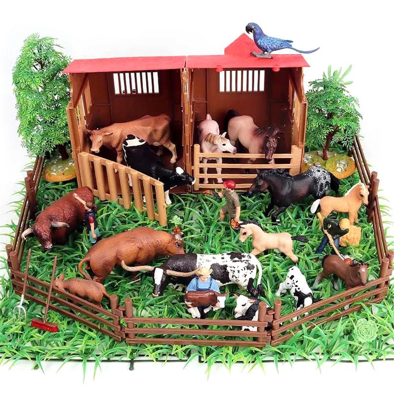 2 Sets Simulation Plastic Farm Scenes Animal People Figurine Kids Toys Gifts