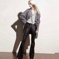 Оранжевые модные кожаные брюки женские высокого качества из искусственной кожи Леггинсы Брюки с высокой талией на молнии длинные узкие брю