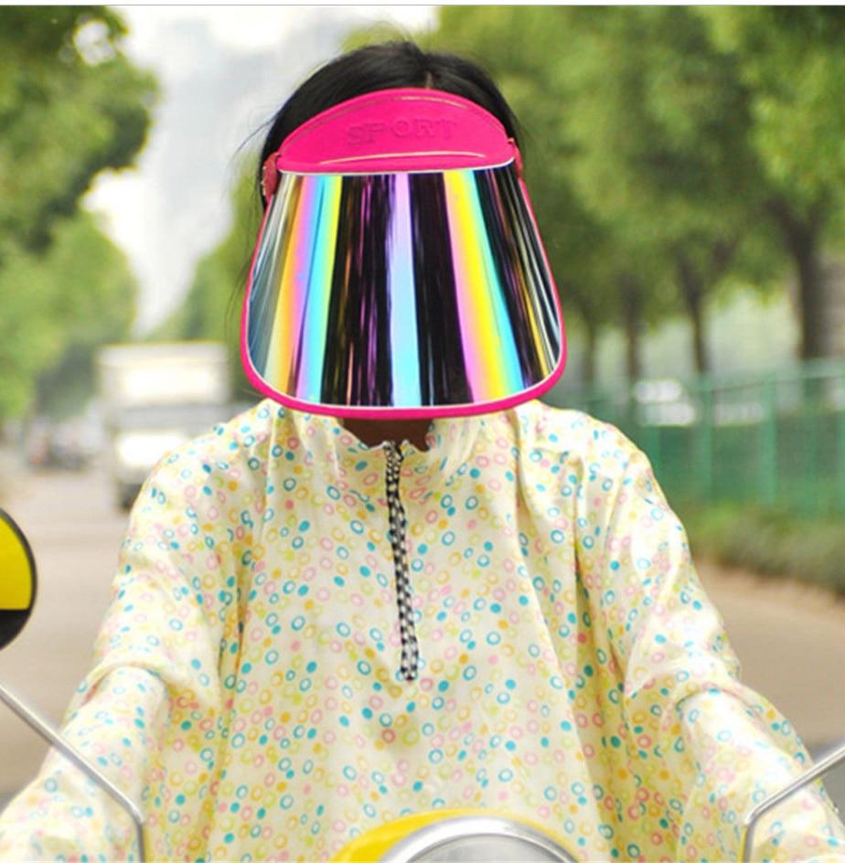 للجنسين الصيف الأشعة فوق البنفسجية حماية قبعة الشمس قناع حزب عارضة قبعة واضح البلاستيك الكبار واقية من الشمس كاب الرياضة في الهواء الطلق متعدد الألوان كاب