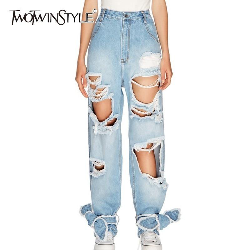 TWOTWINSTYLE Irregular Hole Women Denim Pants High Waist Bowknot Bandage Big Size Female   Jeans   Spring Fashion 2019 New Tide
