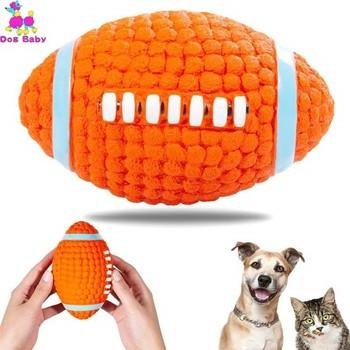 Zabawki dla psów nietoksyczny pisk piłka do żucia zabawka 14cm trwała skrzypiąca Rugby psia zabawka piłka żuć teksturowana zabawka dla małych średnich duże psy tanie i dobre opinie Squeak zabawki Dogbaby Environmental protection latex
