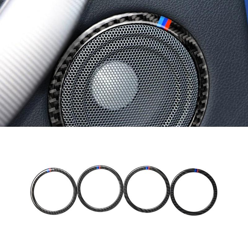 Image 2 - Для BMW 3 серии F30 3GT F34 2013 2014 2015 2016 2017 2018 4 шт автомобиля углеродного волокна кольцо динамика двери Крышка громкоговорителя-in Лепнина для интерьера from Автомобили и мотоциклы