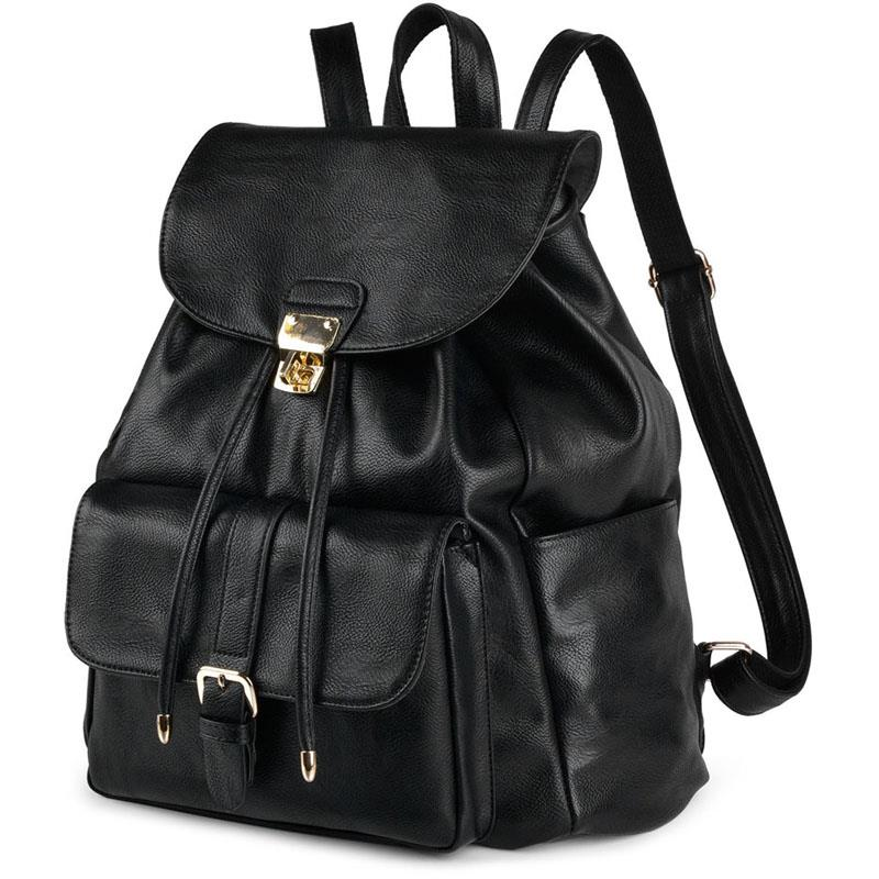 Fashion Ladies Women Backpack Black PU Leather Drawstring School Backpack For Teenage Girls School Bag Satchels Female BagFashion Ladies Women Backpack Black PU Leather Drawstring School Backpack For Teenage Girls School Bag Satchels Female Bag