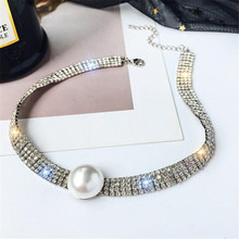FYUAN Full Rhinestone Choker Necklaces for Women Bijoux Gold Color Crystal Pearl Torques Necklaces Statement Jewelry Party Gifts fyuan shiny full rhinestone choker necklaces for women 2019 bijoux silver color crystal necklaces statement jewelry party gifts