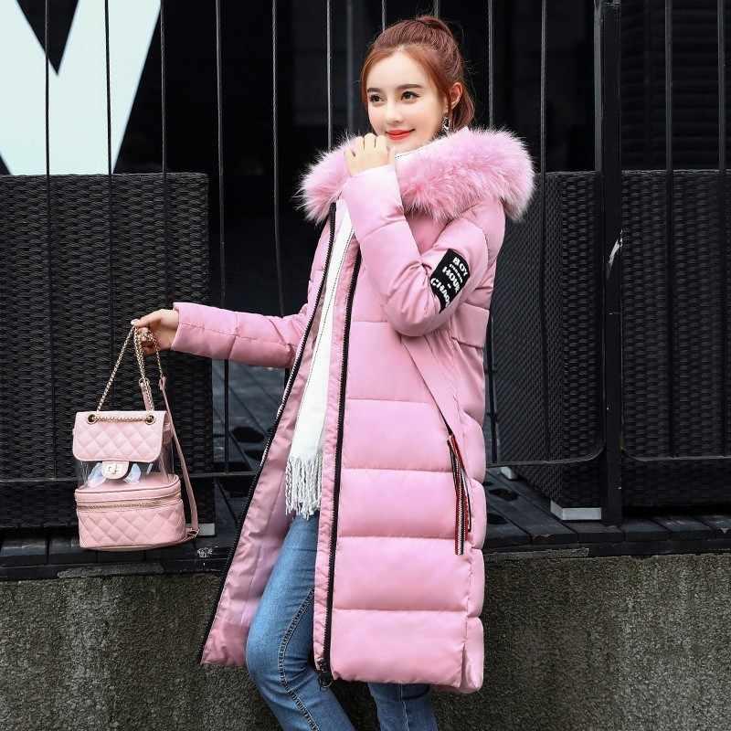 f9363d218 Parka Women Winter Coats Long Cotton Casual Fur Hooded Jackets Ladies Warm  Winter Parkas Female Overcoat Women Coat