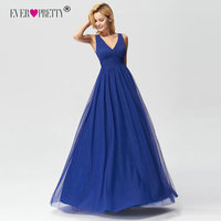 Evening Dresses 2018 Ever Pretty Women's Royal Blue A line V neck Tulle Long Party Special Occasion Gowns for Wedding Party