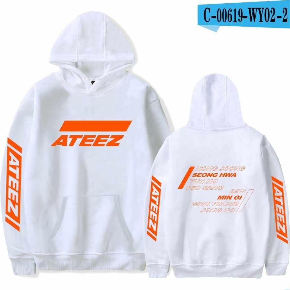 2019 봄 ATEEZ Kpop 까마귀 인쇄 후드 여성 남성 스웨터 의류 하라주쿠 캐주얼 ATEEZ 후드 Kpop 스웨터