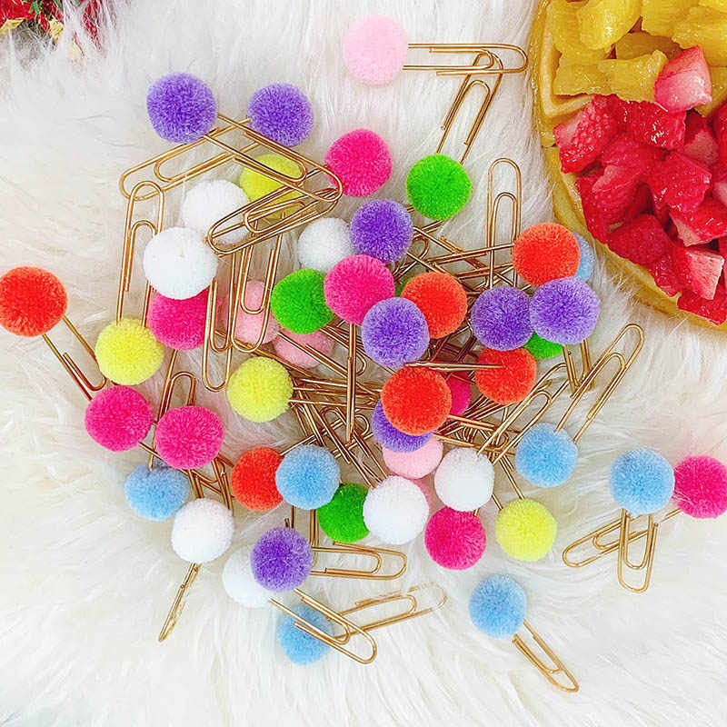 8Pcs Cute Clips Kawaii Hairball Paperclips Candy Color Metal Paper Clips For Kids Grils Gift School Supplies Book Accessories
