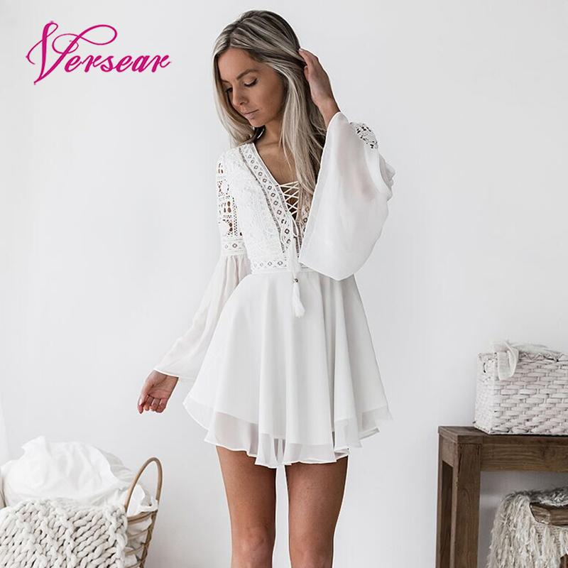 Sexy Women Mini Dress Criss Cross Bandage Lace Semi-sheer V-Neck Long Sleeve Ruffle Lace Dress Party Dresses Vestidos Sundress