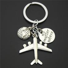 No matter where Aircraft Travel Keychain Jewelry Silver World Travel Journey Pendant Aircraft Airplane Key Chain Plane Key Ring no matter no fact