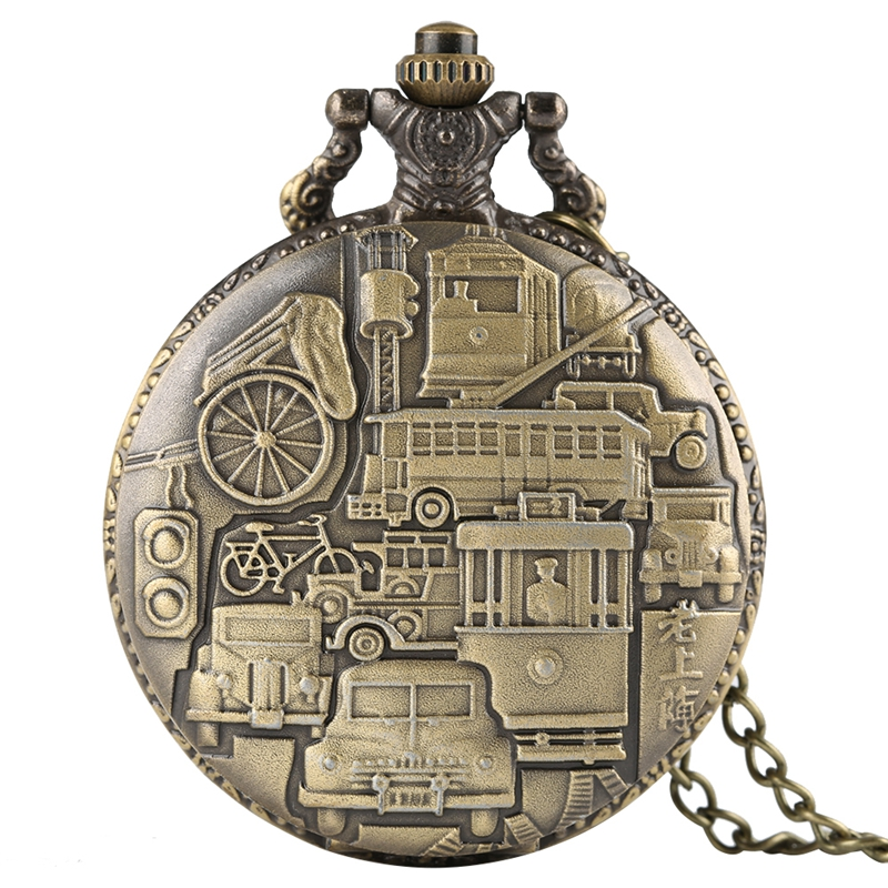 Retro Old Shanghai Quartz Pocket Watch Bronze Ferry Car Rickshaw Pattern Necklace Pendant Casual Watches Clock Male Collectibles