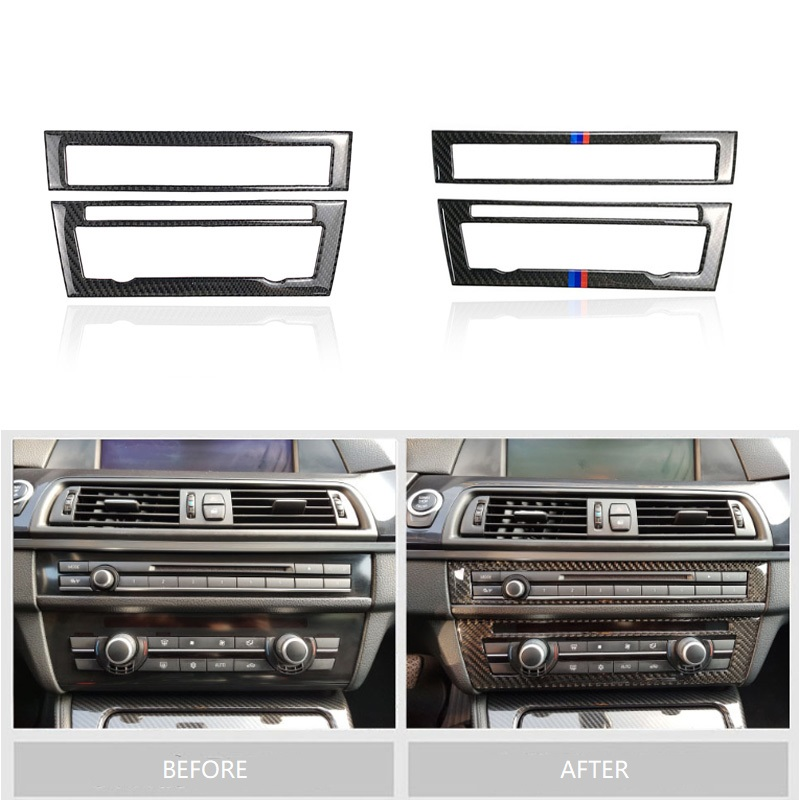 Image 2 - For BMW 5 Series F10 2011 2012 2013 2014 2015 2016 2017 Carbon Fiber Car Front Center Air Conditioning CD Control Panel Cover-in Interior Mouldings from Automobiles & Motorcycles