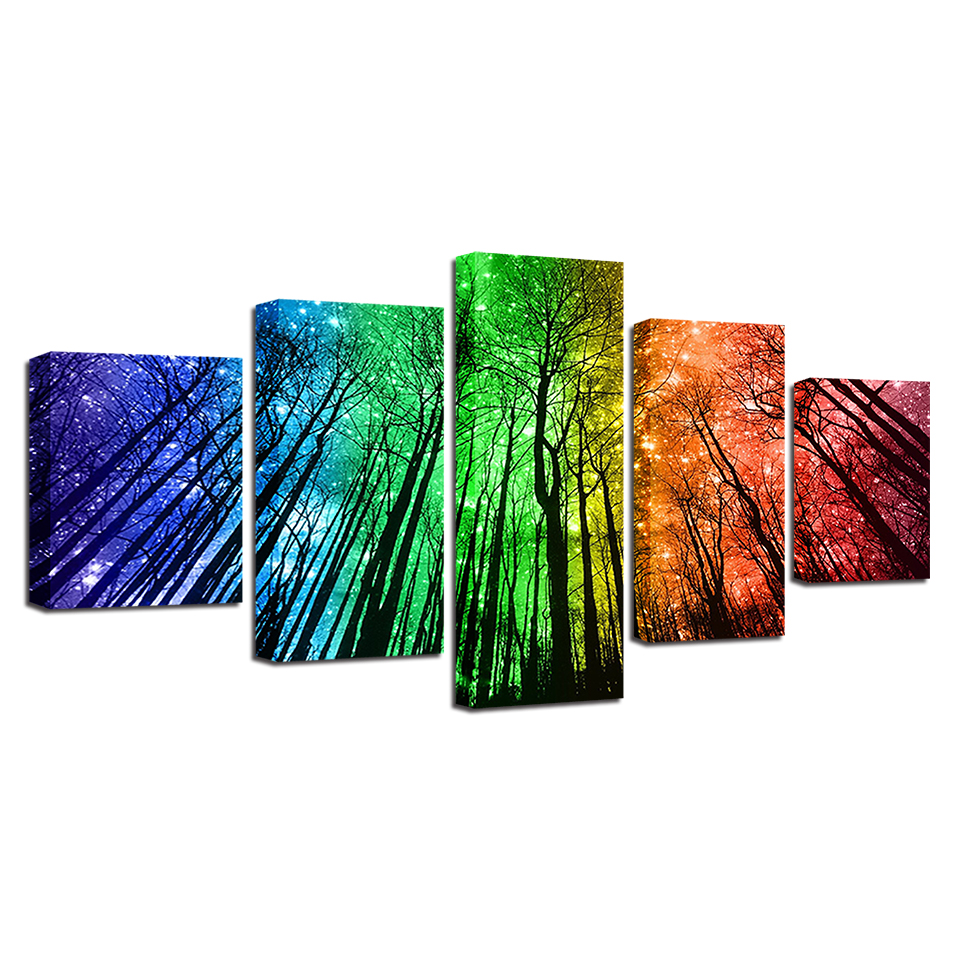 Canvas Prints Painting Wall Art Framework 5 Pieces Color Psychedelic Forest Poster Starry Sky Trees Abstract Pictures Home Decor in Painting Calligraphy from Home Garden