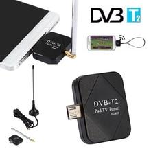 лучшая цена DVB-T2 Mini Satellite TV Tuner Receiver DVB-T2 Micro USB Dongle Signal Digital TV Tuner Receiver For Android Phone