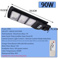 90W LED Solar Lamp Wall Street Light Radar Induction Outdoor Timing Lamp+Remote Waterproof Security Lamp for Garden Yard
