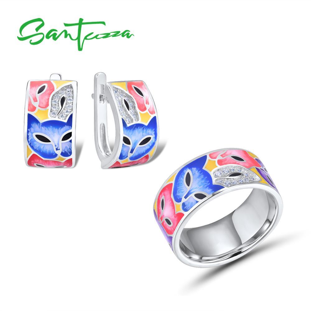 SANTUZZA Jewelry Set For Woman 925 Sterling Silver HANDMADE Colorful Enamel Cute Fox White CZ Ring Earrings Set Fashion Jewelry