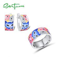 SANTUZZA Jewelry Set 대 한 Woman 925 Sterling Silver 수 제 풀 한 Enamel Cute Fox 흰 CZ 링 귀걸이 Set Fashion Jewelry