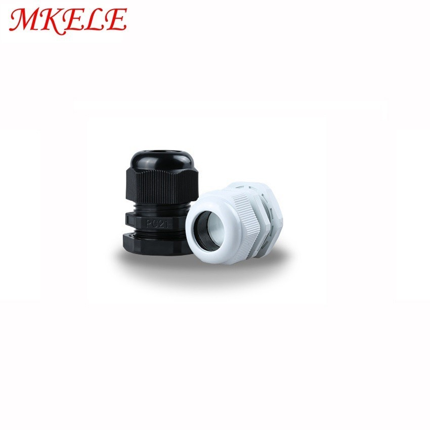 PG21 Black white Plastic Nylon Waterproof Cable Glands Joints IP68 Cable Connector for 13 15mm Cable 10pcs lots in Cable Glands from Home Improvement