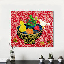 Hand Painted Canvas Art Wall Pictures For Living Room Kusama Yayoi Yellow Still life Fruit Bird Oil Painting Home Decor No Frame(China)