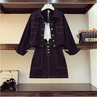 2018 New Fashion Autumn Women's Short Jeans Coat Jacket + High Waist Skirt Two Pieces Students Casual Denim Skirt Suits