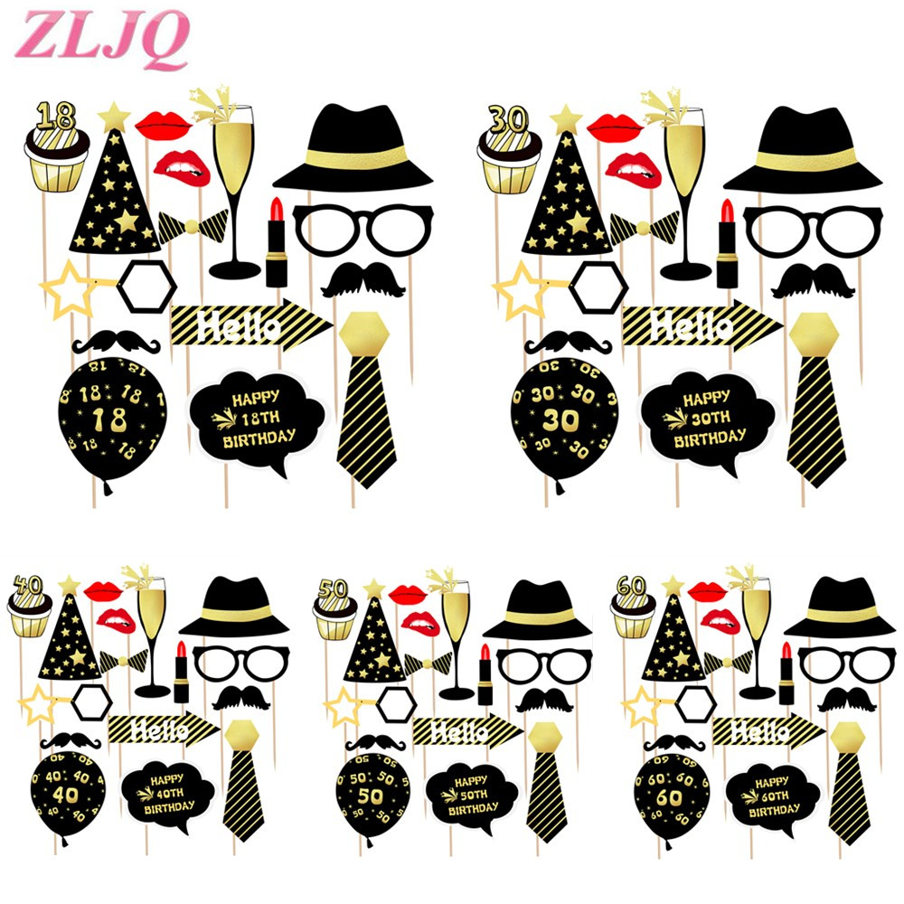 ZLJQ <font><b>18</b></font> 30 40 50 60 Happy Birthday Photo Booth Prop Wedding Anniversary Adult Birthday Party Decoration Man Woman DIY PhotoBooth image