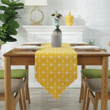 Table Decoration TV Cabinet Runner Yellow Geometry Pattern Cover Tablecloth Home Textile