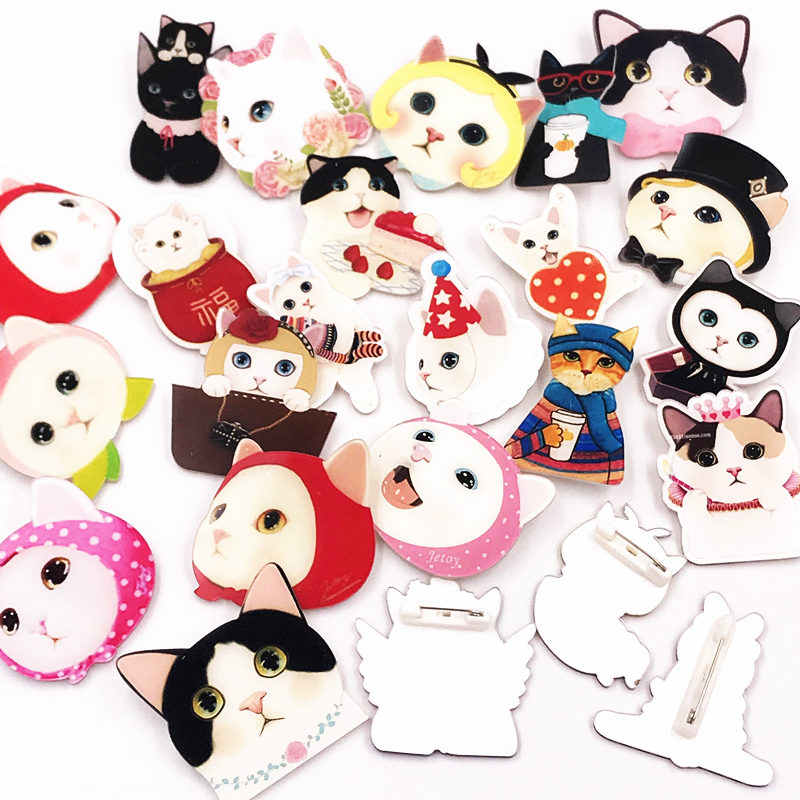 5a627163b 1 PC Cute Cat lady Kitty Badges for Clothing/Bag/Shoe Icons On Backpack
