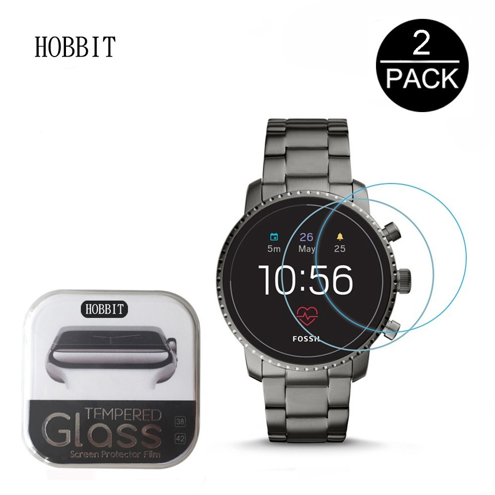 2Pack 2.5D Clear Tempered Glass Screen Protector For Men's Fossil Q Explorist HR Gen 4 5 Smartwatch Screen Guard Protective Film