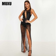 MUXU fashion black sexy transparent dress kleider sukienka party long clothes vestidos jurken robe femme women clothing