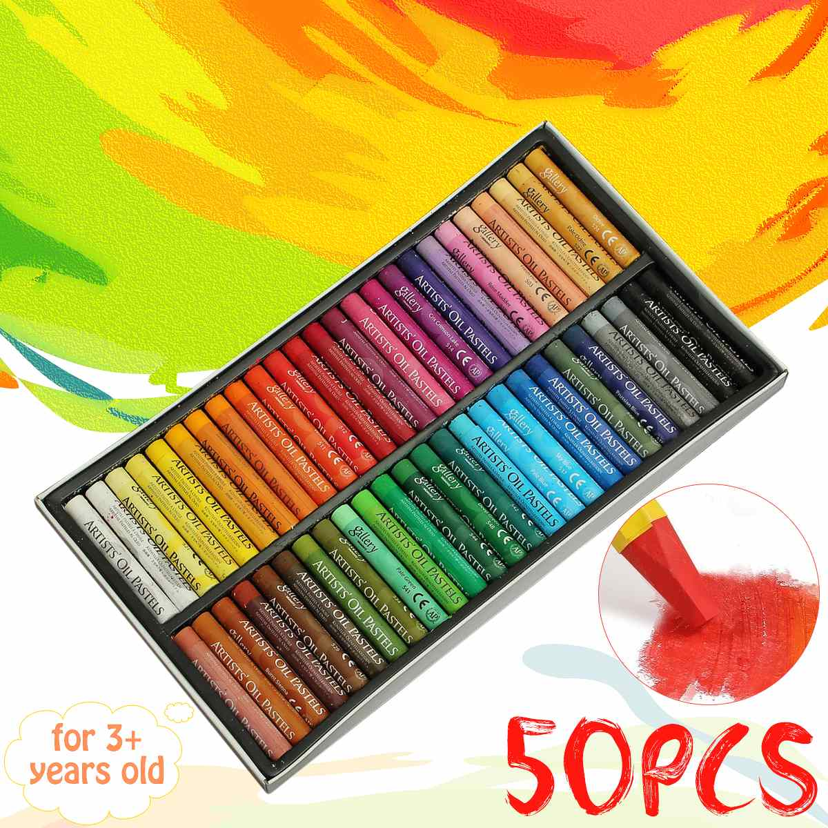 50 Colors/Set Round Shape Oil Pastel For Artist Students Drawing Pen School Stationery Art Supplies Wax Crayon