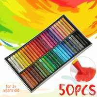 50 colores/Set Pastel de aceite de forma redonda para estudiantes de arte lápiz de dibujo papelería escolar suministros de arte cera crayón