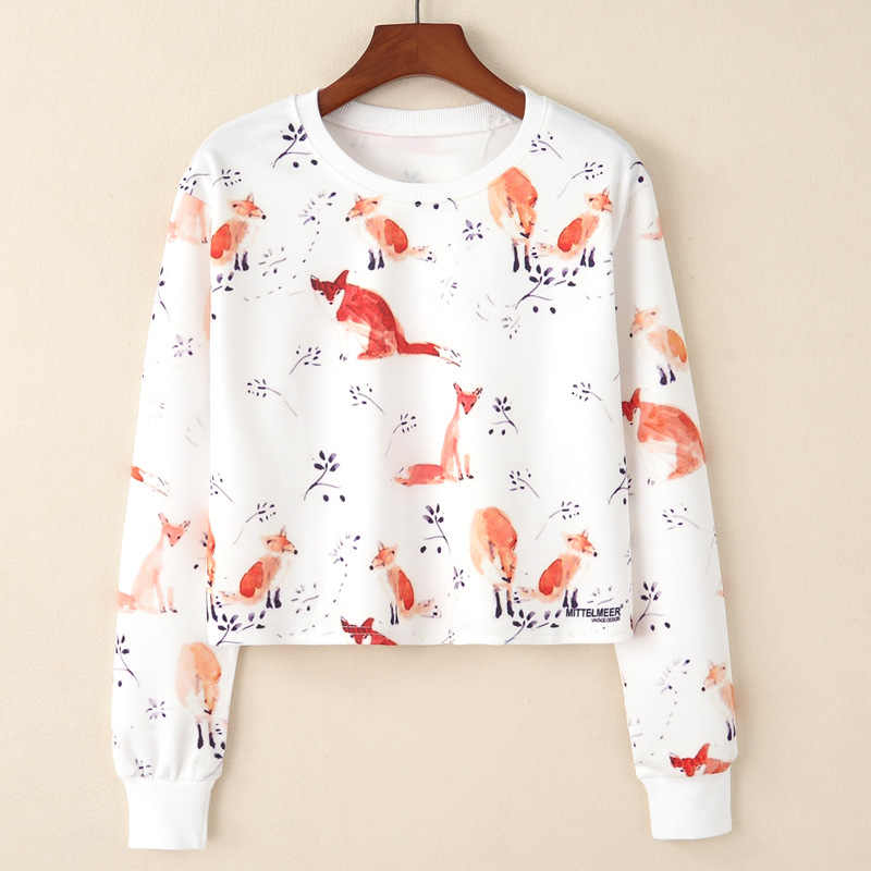 Spring Autumn New European Fox and Branches Print T-shirts Women Casual Long Sleeve Short Shirts Femme Fashion Basic Clothing