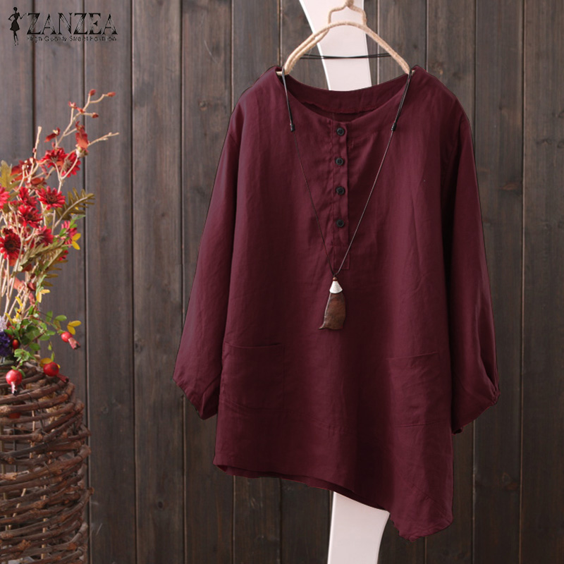 Women's Clothing 2019 Zanzea Spring Open Stich Long Sleeve Shirt Vintage Cotton Linen Loose Blouse Women Casual Solid O Neck Button Work Tops Clients First
