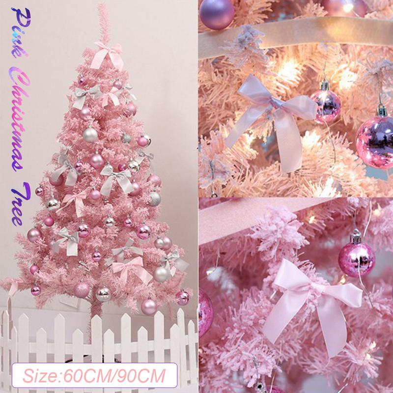 Pink Christmas Lights.Us 19 97 33 Off Pink Christmas Tree With Led Light Diy Artificial Christmas Tree Xmas Party Holiday Ornament Home Decor Office Decorations In Trees