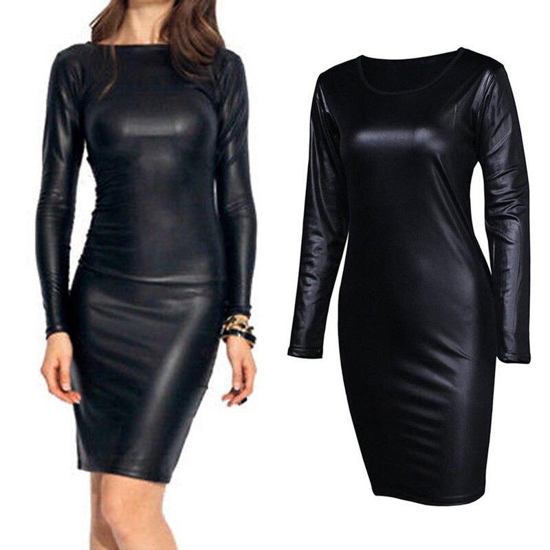 Frauen PU Leder Kleid Club Herbst Langarm Kleider Bleistift Stretch Mode Heißer Verkauf Schwarz Solide Partei Vestidos Kleid