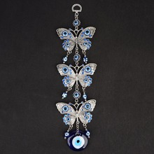 11 Evil Eye Pendant with Butterfly Key Chain Trendy Blue Keychain Wall Hanging Lucky Gift