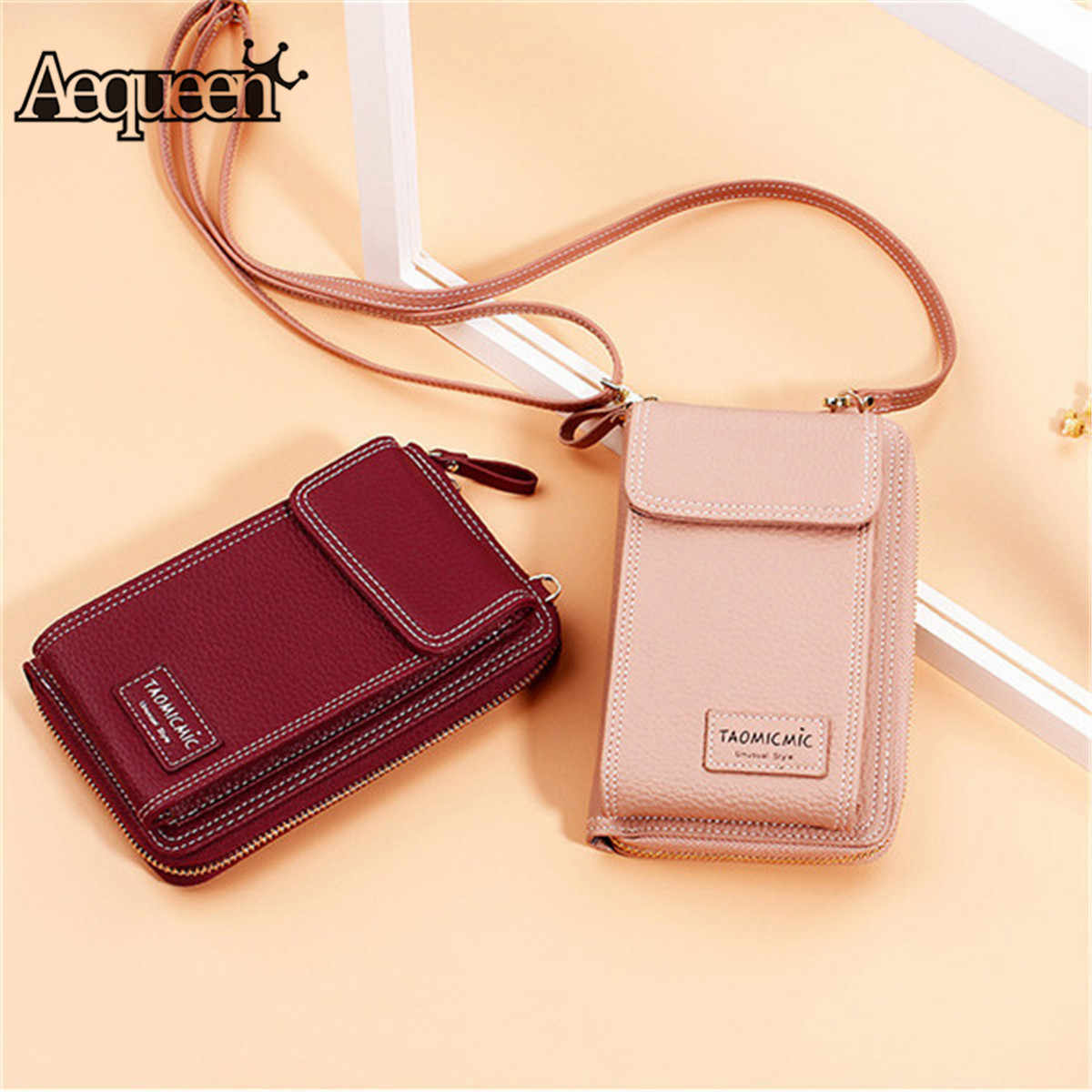 338b480a2282d Detail Feedback Questions about AEQUEEN Ladies Solid Faux leather Clutch Bag  Small Crossbody Bag For women Purses 4 Card Slot Card Bag Pink Green Mini  Phone ...