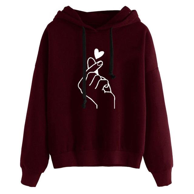 Harajuku Pink Women Hoodies Kawaii Love Heart Printed Hooded Sweatshirt Kpop Tops Cute Ladies Loose Pullover Streetwear Moletom
