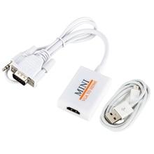 VGA الذكور إلى HDM الإخراج 1080P HD + الصوت التلفزيون AV HDTV الفيديو محول الكابل محول