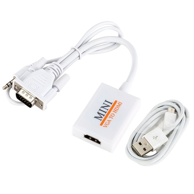 VGA Male To HDM Output 1080P HD+Audio TV AV HDTV Video Cable Converter Adapter
