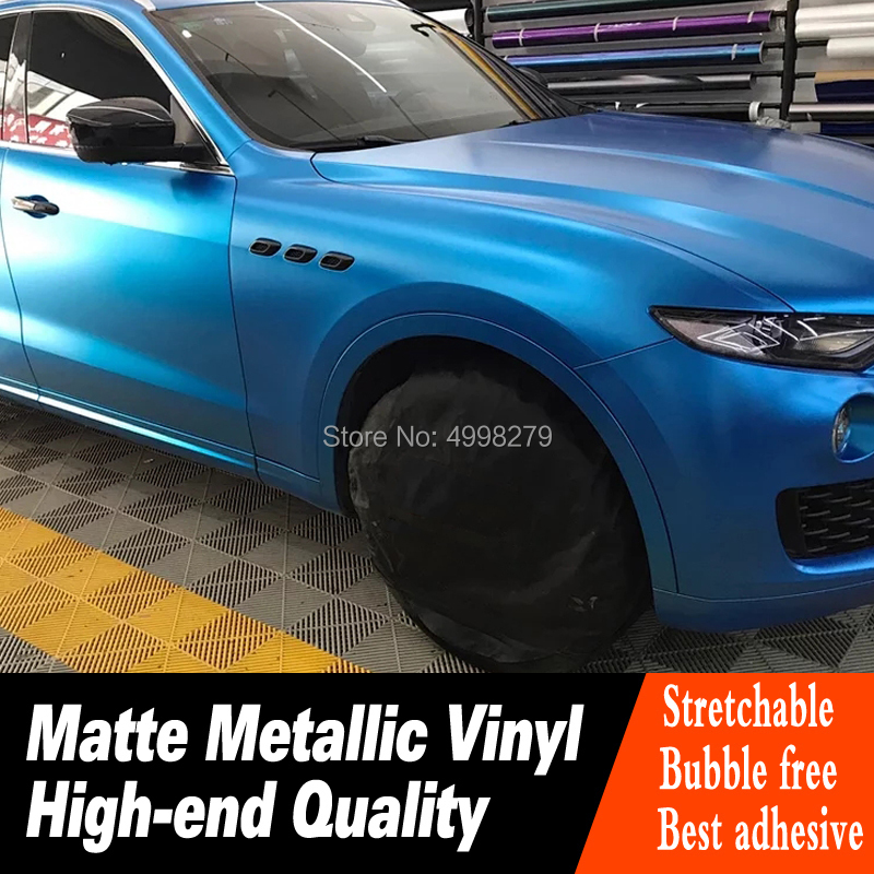 Plus haute qualité BLEU FONCÉ mat Métallique Autocollant de Voiture en vinyle Haut De gamme couleur chaude en métal mat film Garantie qualité