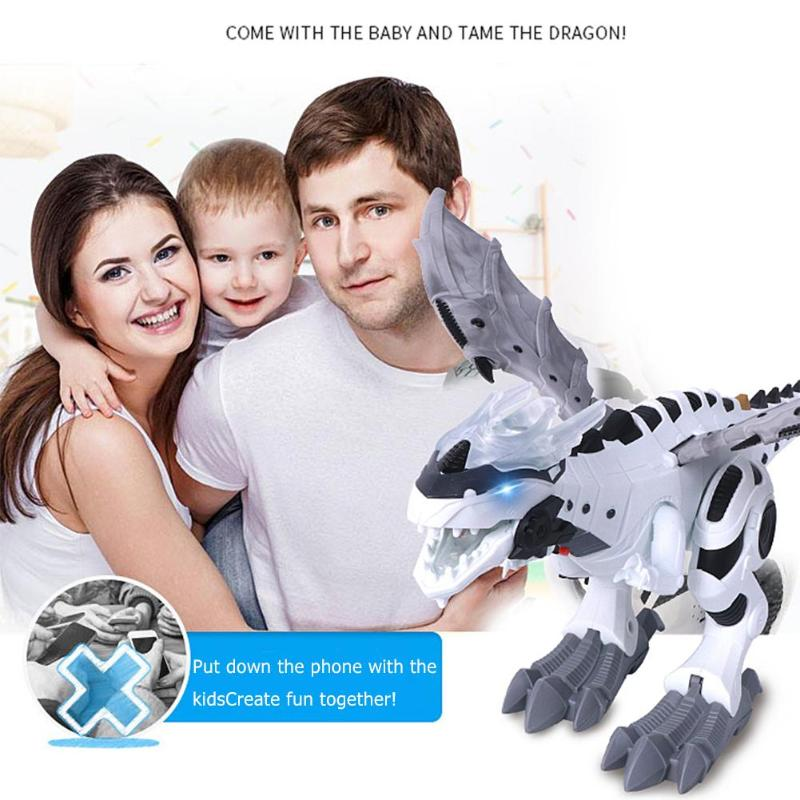 Image 2 - Electric Dinosaurs Model Kit Kids Walking Spray Swing Robot Toy Electronic Animal Model with Light Sound Toys For Children-in RC Robots & Animals from Toys & Hobbies