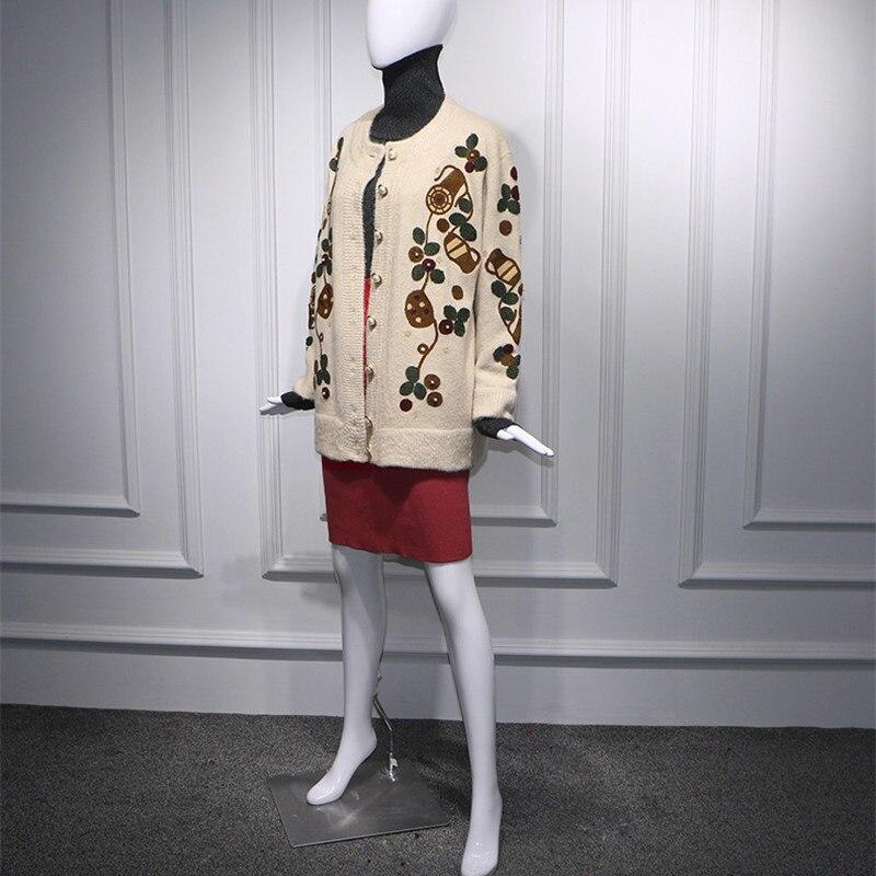 Décontracté Pull Tricoté Vêtements 2019 Capuche Sweat Printemps Broderie Designer Doux Fleur Lâche Long Blanc À Femmes OPqZw6O