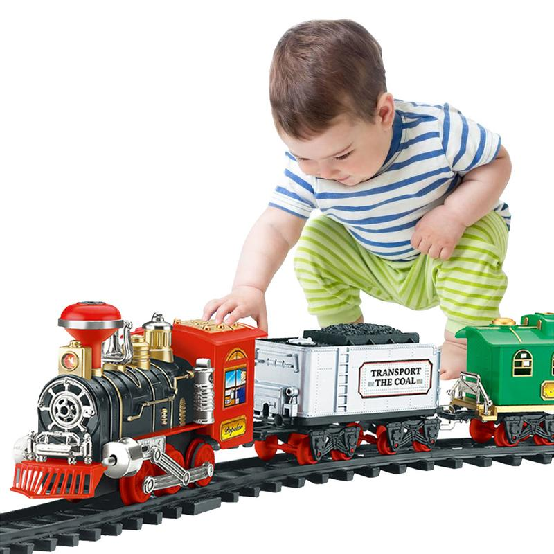 Electric Orbit Track Train Toy Set with Real Smoke Authentic Lights and Sounds for Children Boy Girl