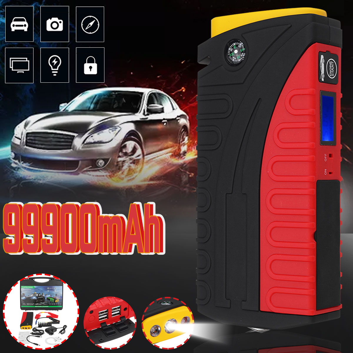 99900mAh Large Capacity Car Jump Start Starter Power Bank Booster 12V 600A LED 4 USB Car Emergency Charger Battery Waterproof image