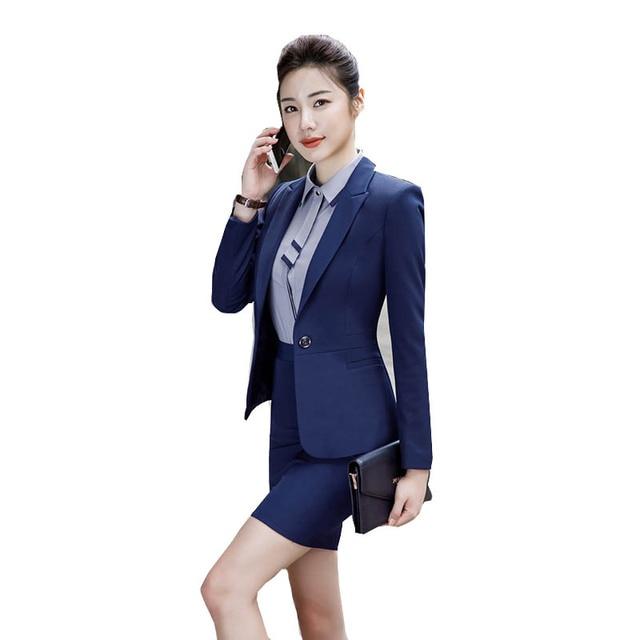 2020 Fashion Office Lady 2 Pieces Set Blazer +Elegant Skirt Or Pencil Pants Business Suit Formal Clothes Colors For Choose 1